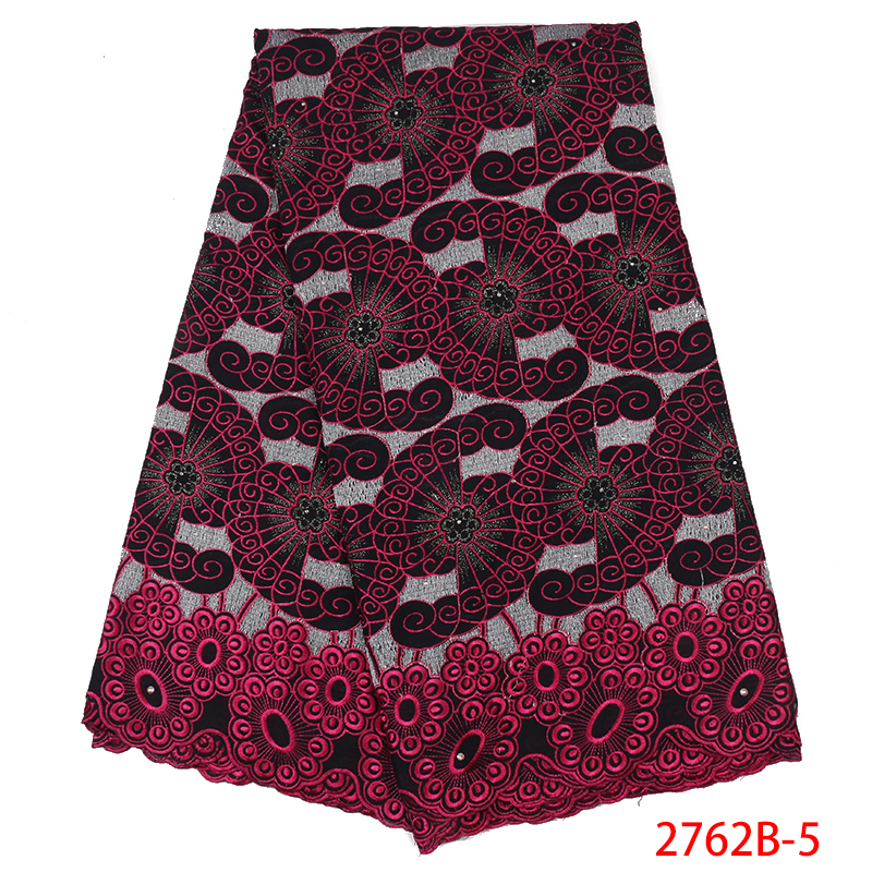 African French Cotton Lace Fabric 2019 High Quality Embroidered Lace Fabric With Stones For Nigerian Wedding Dress KS2762B-5