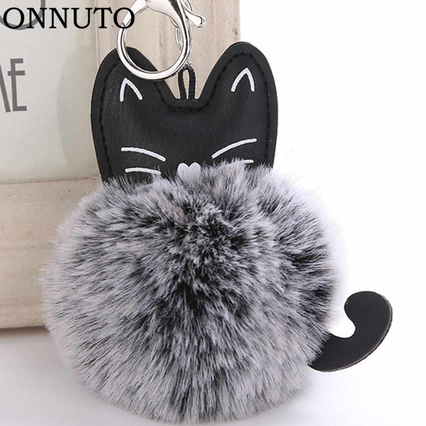 2387f20e4cba Women Fluffy Cat Pompom Bunny Keychain Llavero Pom Pom Key Chain Faux Fur  Ball Bag Chaveiro