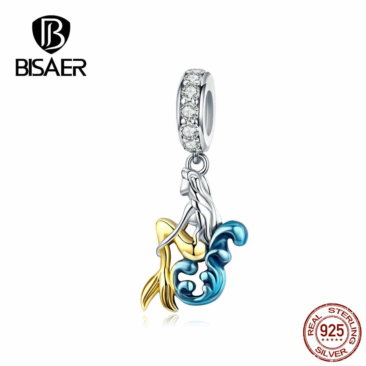BISAER 2019 925 Sterling Silver Mermaid จี้ Charms Golden Tail Fit PAN กำไลและสร้อยคอแฟชั่นเครื่องประดับ GXC1166