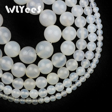 WLYeeS Factory price Natural White carnelian bead Stone Ball 4 6 8 10 12mm Round Loose Bead for Jewelry Necklace Making DIY 15