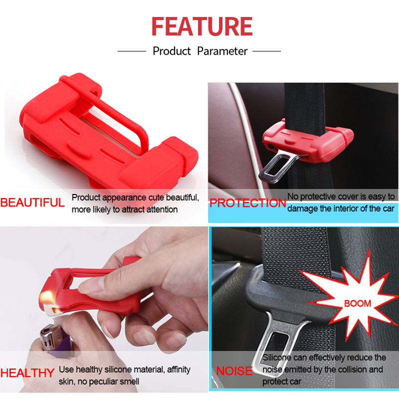 1x Car Auto Seat Belt Buckle Silicone Covers Clip Anti-Scratch Cover Accessories