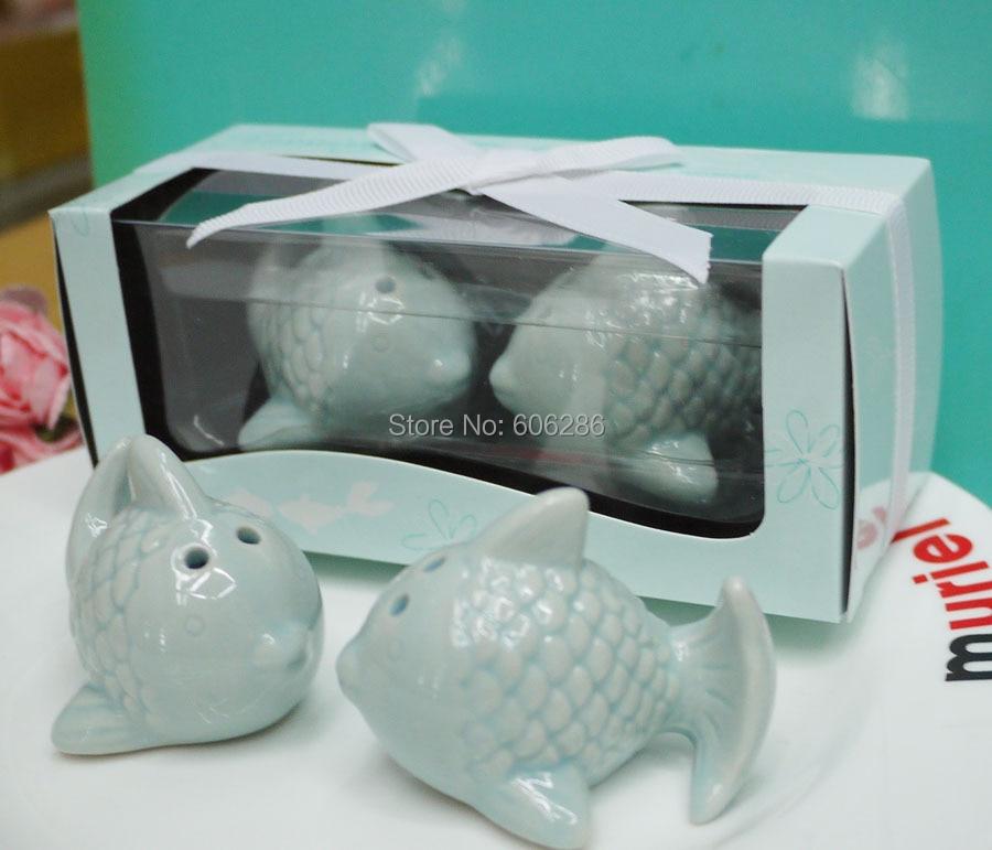 50 компл./лот свадебные сувениры и подарки целующиеся рыбы керамические Солонка и перец шейкеры lembrancinhas de casamento