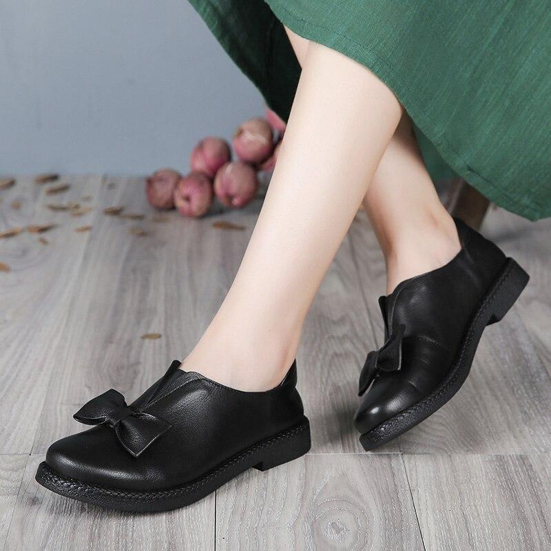 Женская обувь из натуральной кожи ручной работы в винтажном стиле, мягкая обувь на плоской подошве с круглым носком и бантом бабочкой, 2019 soft flat shoes flat shoesleather women flats   АлиЭкспресс