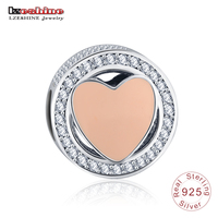 LZESHINE New Arrival 925 Sterling Silver Wonderful Love With Pink Enamel Clear CZ Beads Charms Fit
