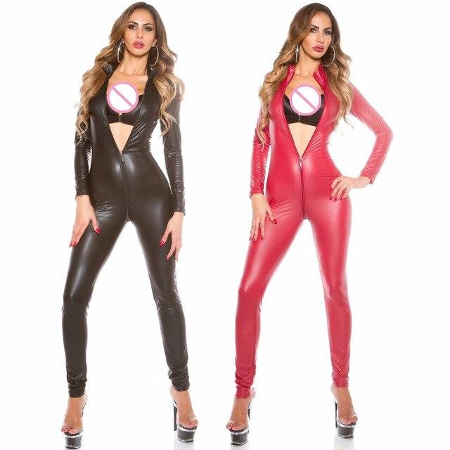9500d18045e8 M-XXL Sexy Jumpsuit For Women s Vinyl Catsuit Long Sleeve Faux Leather  Bodysuit Zipper Open Crotch PU Latex Leotard Costume