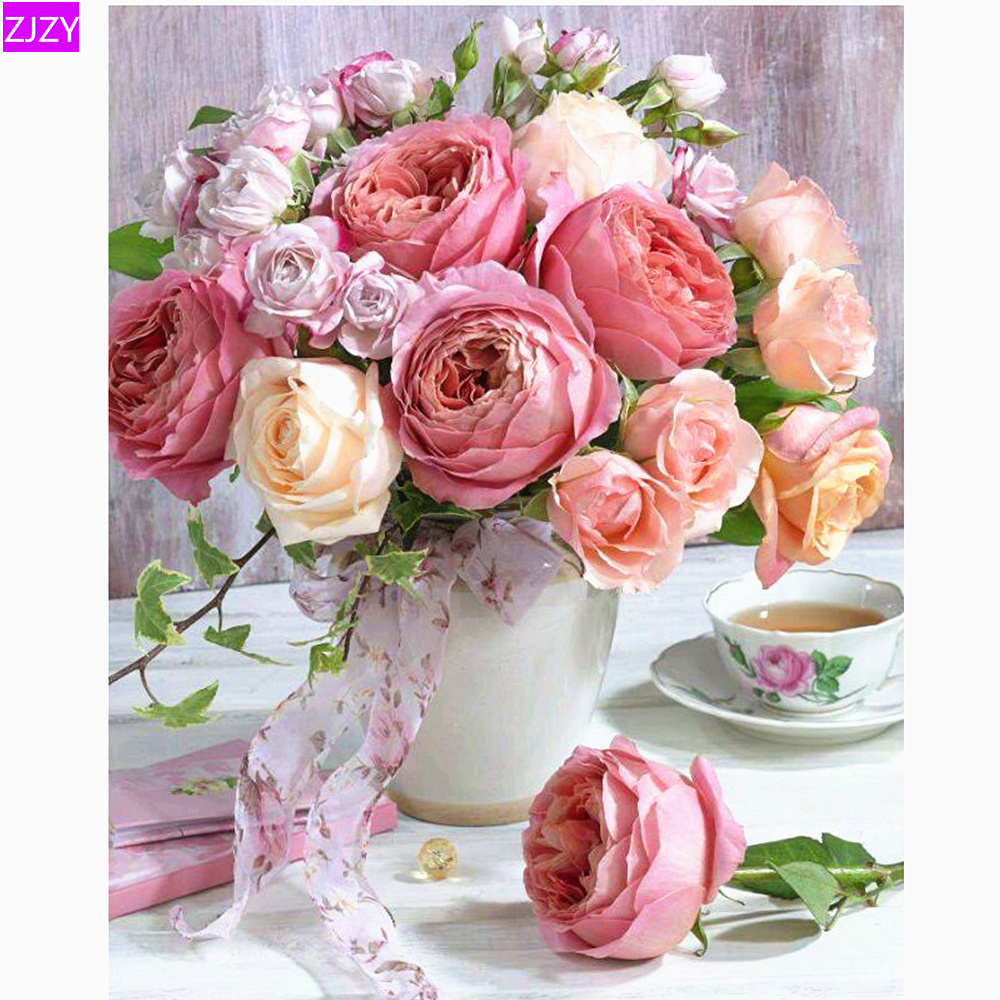 ZJZY Flower Diamond Painting Rose 5D DIY Diamond Embroidery Full Round Rhinestone Mosaic Home Decoration Gift  LY813