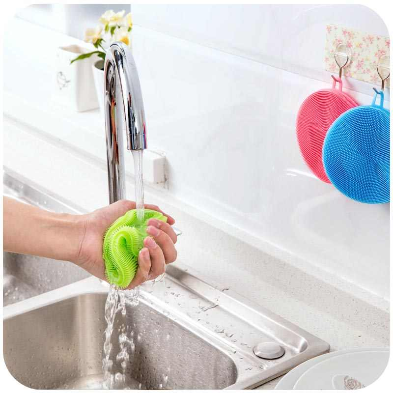 Silicone Dish Washing Kitchen Accessories Brush Bowl Pot Pan Wash Cleaning Brushes Cooking Tool Cleaner Sponges Scouring