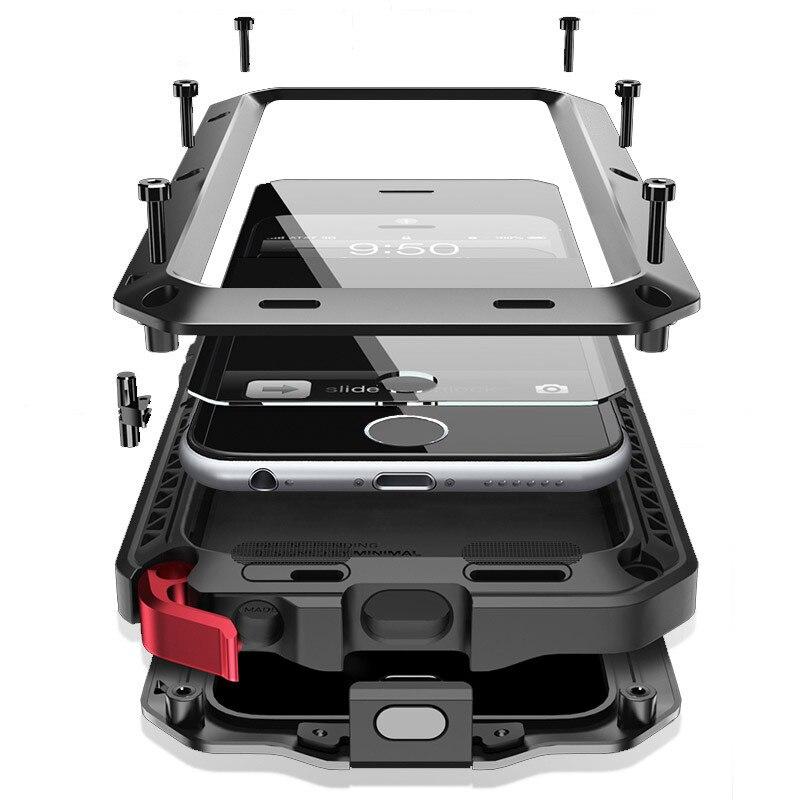 A Desgraça De Luxo militar Armadura à prova de Choque Sujeira À Prova D' Água de Metal de Alumínio Do Telefone Celular Case para Iphone 5 5S SE 6 6 S 7 Plus Case + Vidro Temperado