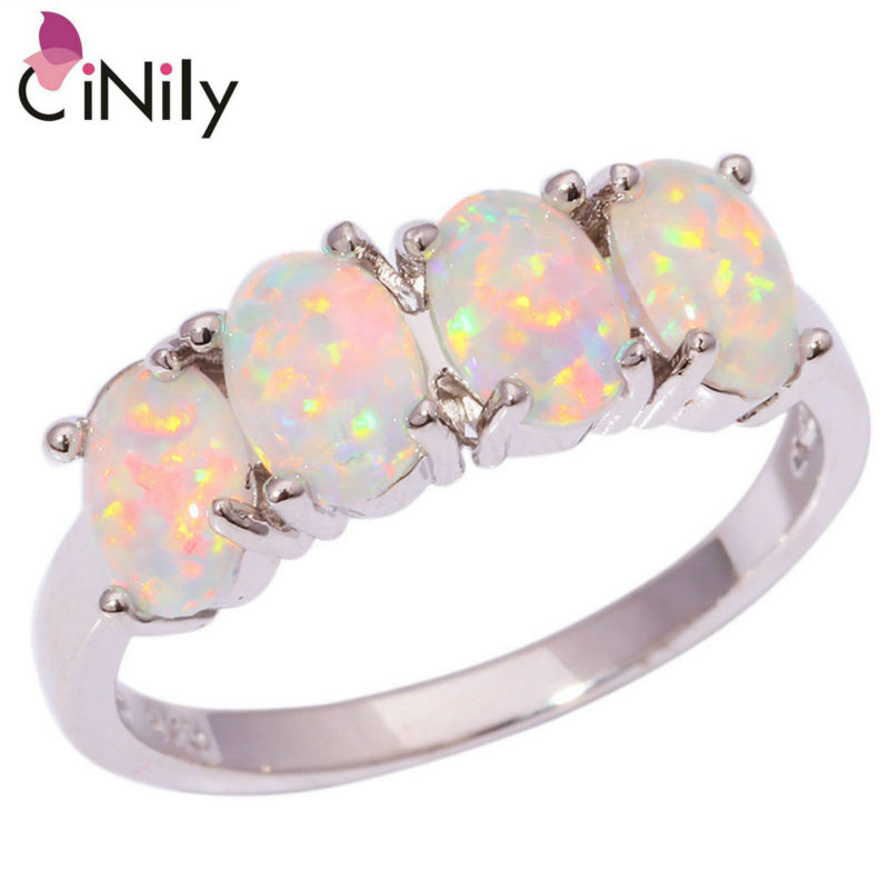 CiNily Created White Fire Opal Silver Plated Ring Wholesale Fashion Wedding Party for Women Jewelry Ring Size 5-12 OJ5583
