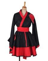Naruto Shippuden Akatsuki Organización Femenina Lolita Vestido Del Kimono Anime Cosplay Costume