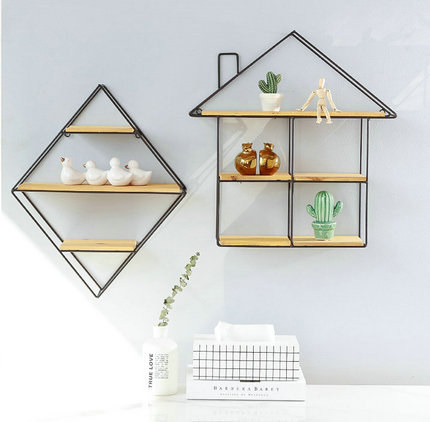 Nordic Design Wall Grid Hanging Shelf Decorative Wall Shelf Ornaments Flower Pot Display Shelf