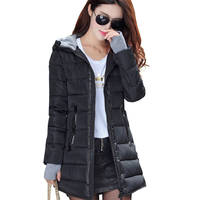 2017 Fashion Women Winter Jatueta Slim Solid Black Zipper Outerwear Big Size Jacket Femme Hooded Cotton