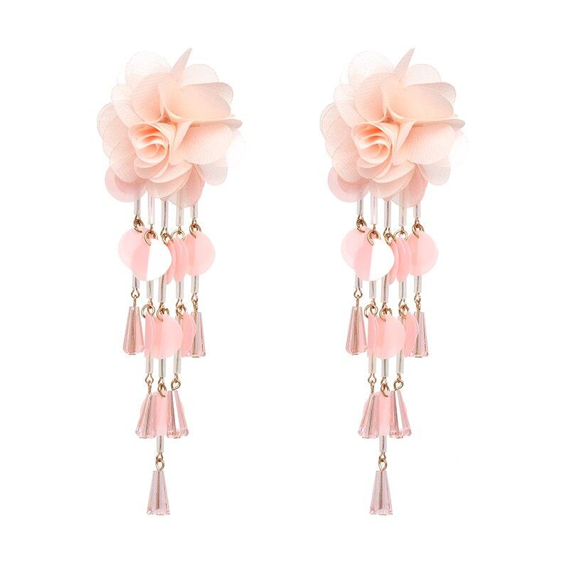 JUJIA Bohemian Long Flower Earrings Pom Pom Big Statement Earrings Fringe Drop Earrings Women Jewelry 26