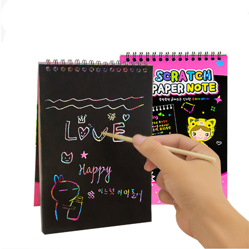 RAINBOX 4 Sets lot Kids Children Magic Scratch Art Note book Scraping Drawing Toys Drawing Doodle