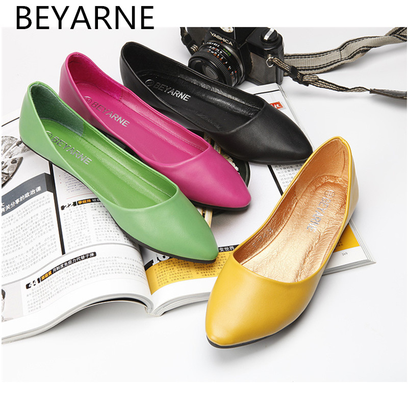 BEYARNE Ballerina Flats 2018 Pointed Toe Bowtie Sweet Flat Shoes Women Slip On Ballet Flats Woman Female Solid Casual Shoes women ballerina flats shallow slip on ballet shoes pointed toe flats woman metal heart shape rubber leather black ladies shoes