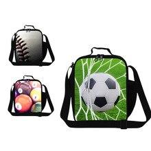 Мяч 3D prinitng плечо обед мешок кулер мешок тепловой обед контейнер для детей школа мужчины небольшой мешок еды