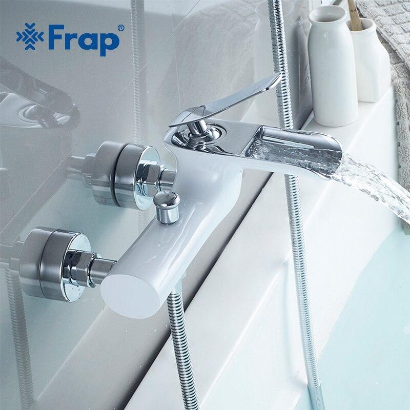 Frap Смесители для ванны хромированный латунный душевой набор Ванна Смеситель кран одинарная Ручка Двойная Contral Душевая система для ванной к...
