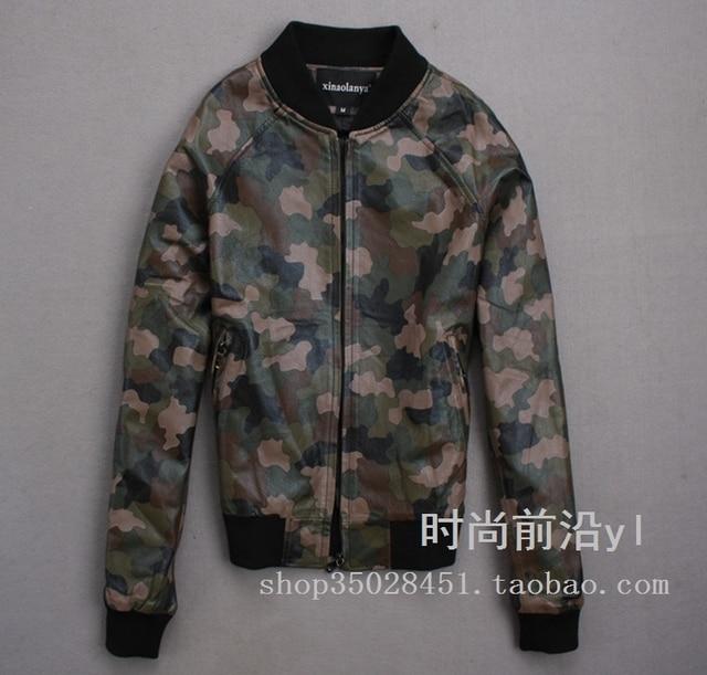Camouflage Women Jackets Winter Genuine Leather Jacket Women