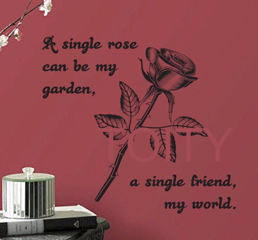 Tunggal Rose Wall Art Sticker Cinta Decal Penawaran Vinyl Mural Room Karakter Interior Teman Di Stickers Dari Rumah Taman