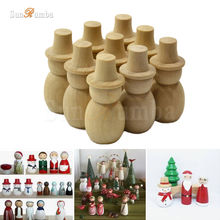 10pcs Wooden Unfinished DIY Craft Peg Dolls Wood Snowman Toy Home Arts Sewing Crafts Doll Puppet Bases Christmas Decor