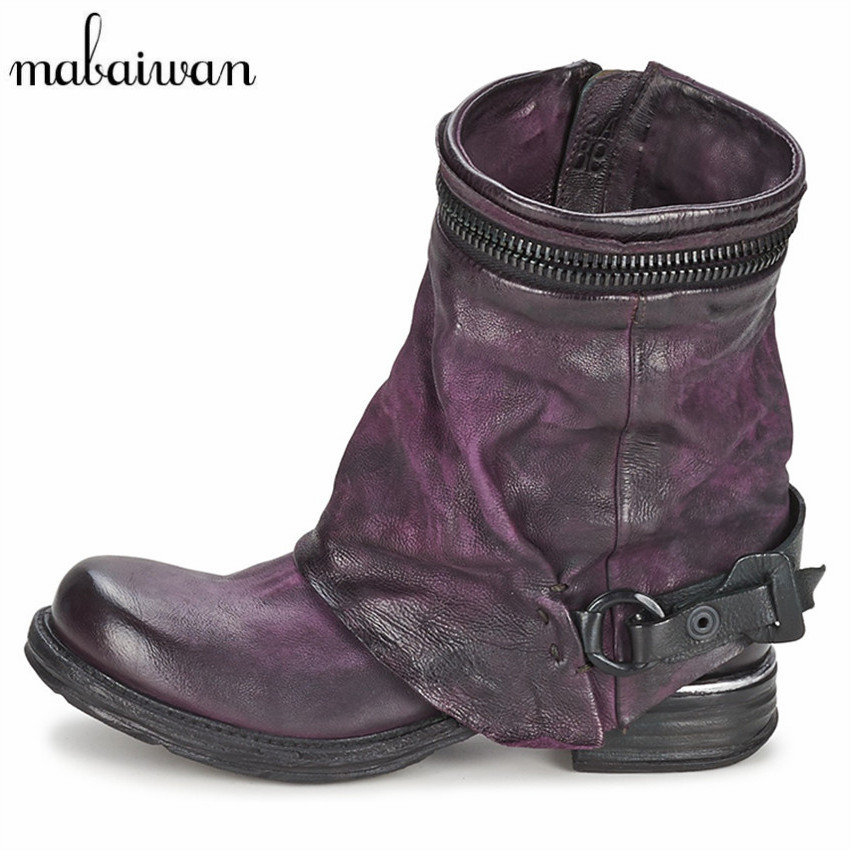 Mabaiwan Genuine Leather Women Autumn Winter Boots Vinatge Short Riding Boot Flat Shoes Woman Ankle Booties Botas Militares rubber cement euro winter shoes woman sleeve side zip chains riding genuine leather boots women solid color cowhide flat with