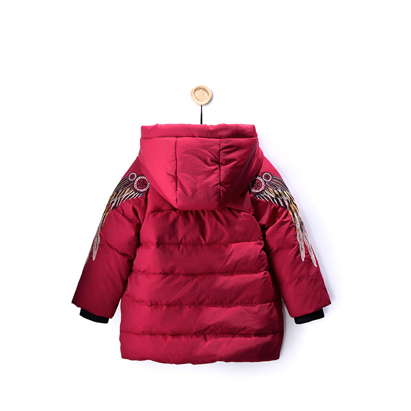 2018 New Children's Down Jacket Boys Embroidered Short Winter Coat Kids Casual Thick Down Parka Fashion Warm Outerwear sequin embroidered zip up jacket