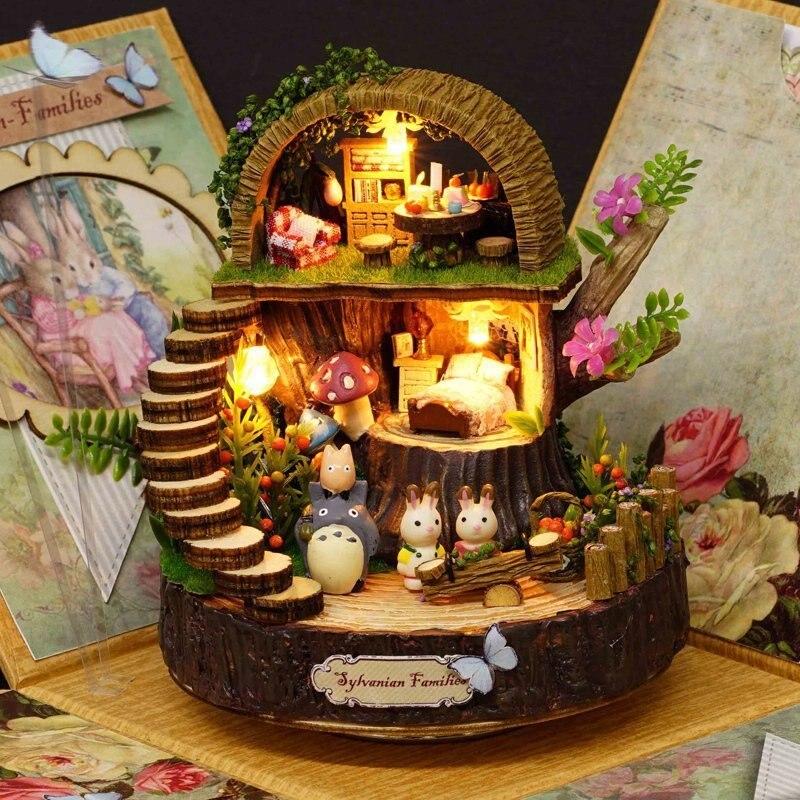 DIY ensamblado resina Anime cabañas caja de música mi vecino Totoro cumpleaños regalo fantasía bosque caramelo gato estatuilla 1 unidades