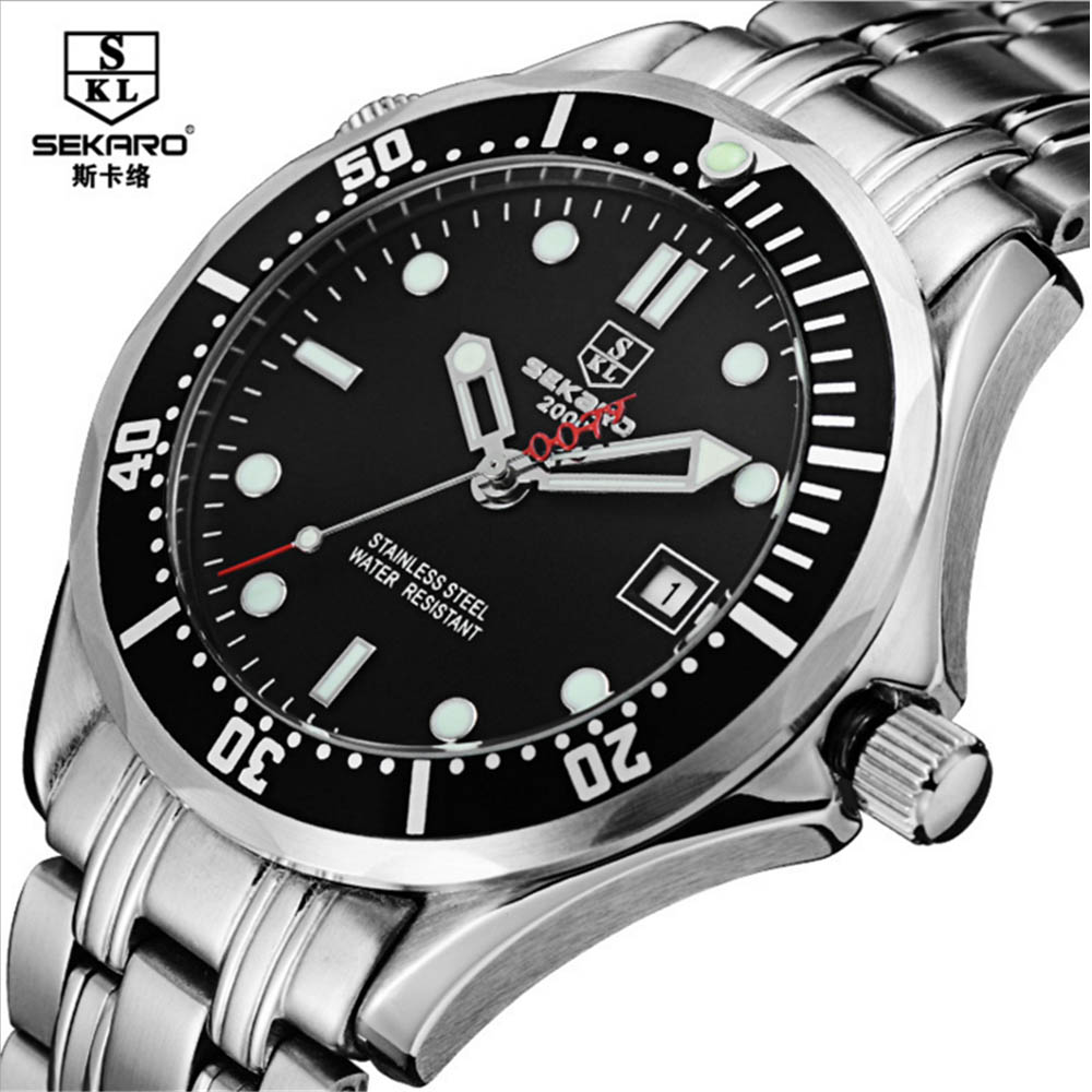 2017 SEKARO Mens High Quality Automatic mechanical Watches Men Top Brand Luxury Business full steel watch Man Relogio Masculino sapphire automatic mechanical watch classic mens watches top brand luxury fashion male wristwatch high quality relogio masculino