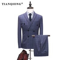 TIAN QIONG Men Suits Double Breasted Slim Fit Plaid Suits For Men 2 Pieces 2018 High