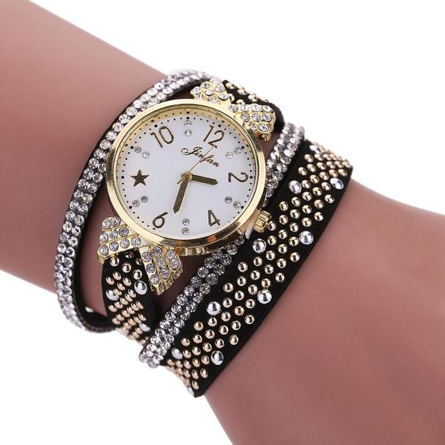 Fashion Leisure Women Bracelet Watches Crystal Casual Elegant Ladies Leather Clo