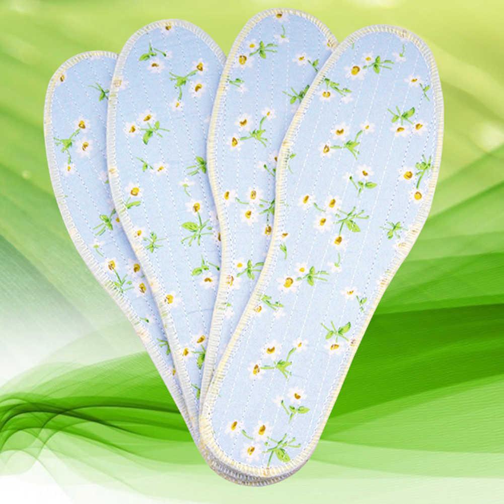 1 คู่รองเท้าผ้าฝ้าย Insole Breathable เหงื่อ-ดูดซับพื้นรองเท้าฤดูร้อนดอกไม้สบายบางระงับกลิ่นกาย Insoles