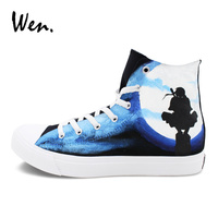 Wen Men Women Sneakers High Top Canvas Black Custom Design Hand Painted Anime Shoes Naruto Shippuuden