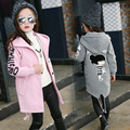 Girls Coats Cotton Woolen Jackets For Girls Overcoats Letter Cartoon Children Outerwear Thicken Christmas New Year Clothing 4-12