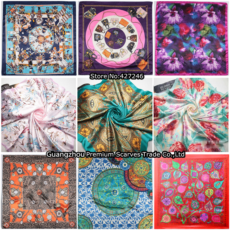 90cm*90cm Free Shipping 2016 Big Size Silk Square Scarf Women Fashion Brand...