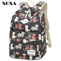 Xqxa impressão mulheres lona ocasional mochila mochila para meninas adolescentes mochila escolar estilo preppy mochilas escolares preto/rosa/cinza