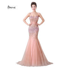 Finove Luxury Mermaid Evening Dresses 2017 Long Sweetheart Crystal Beading Off the Shoulder with Sequins Prom Dresses Vestidos