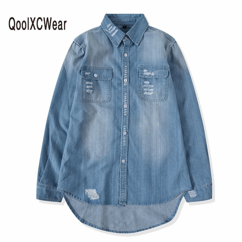 QoolXCWear Nouveau Hommes Denim Chemises Mens Hip Hop Bleu Cowboy chemise À Manches Longues Hiphop Streetwear Butin Top jean chemise Clohes