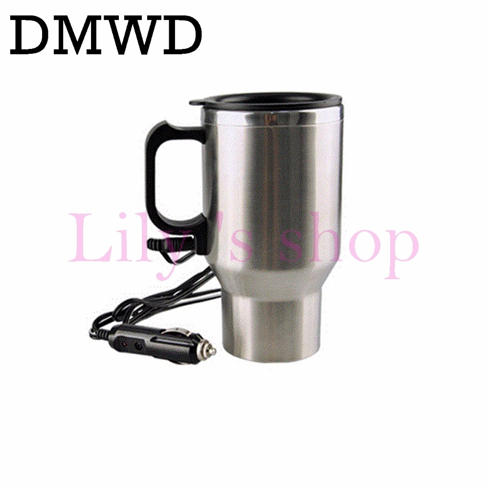 DMWD 12V Stainless Steel electric car use Kettle Travel mini Auto water heating cups tea coffee milk boiling cup Hot Thermo Mug automatic mixing cup camera lens stainless steel coffee tea mug travel