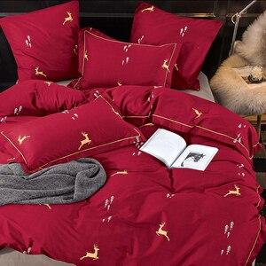 Image 4 - Alanna מוצק מתוק סגנון קטן אדום לב פרח צמח עלים וחיות מודפס 4/7pcs סט מצעים עם שונה צבע