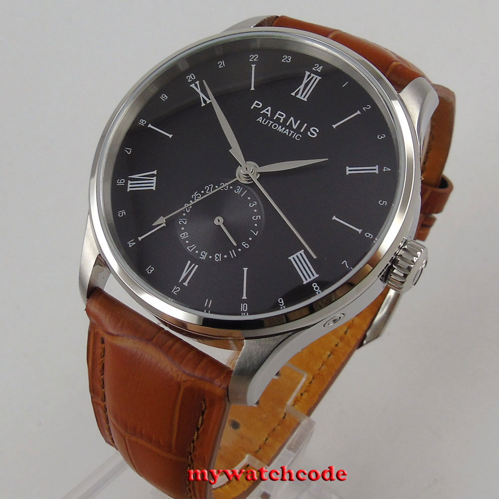 42mm Parnis black dial 24 Hours Hand ST1690 Automatic Movement Mens Watch