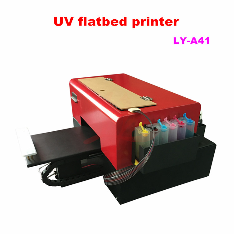 Russia tax free LY A41  LED flatbed uv printer on wood  size 205x260mm print height 30mm 6 colors nozzle  uv printer high quality uv flatbed printer manufacturing print on metal