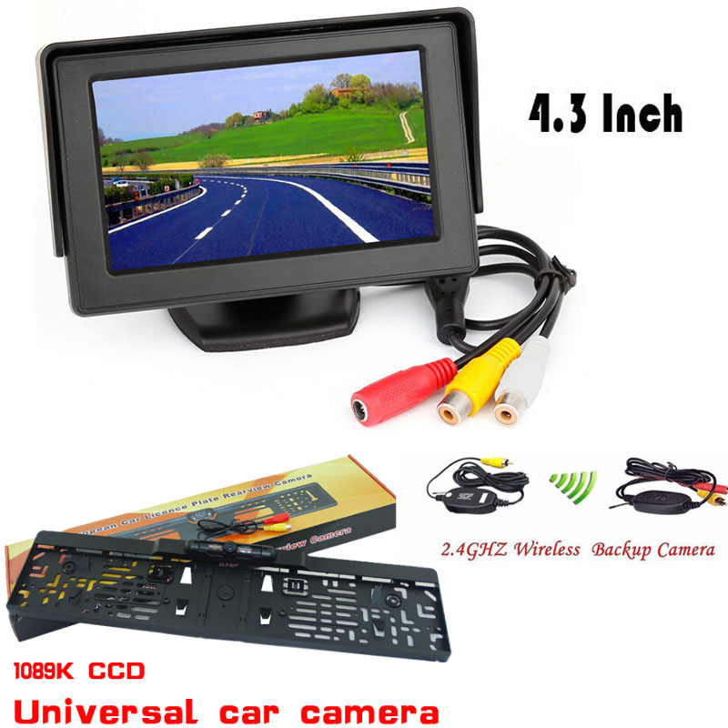 2017 Auto parking kit 4.3 tft hd mirror monitor CCD Wide angle car rear view backup camera reverse camera ir eu license plate ccd car reverse camera for ssangyong rexton kyron backup rear review reversing parking kit waterproof nightvision free shipping