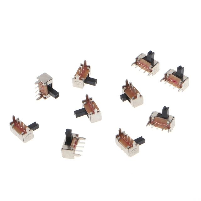 US $0 33 24% OFF|10 Pcs Toggle Vertical Slide Switch 1P2T 3 Pin 3mm Shank  For PCB Mount SK12D07 VG4-in Switches from Lights & Lighting on