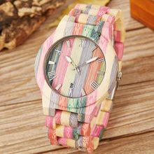 Colorful Wood Watch Women Men Natural Wooden Wristwatch Rainbow Casual Quartz