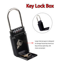 4 Digit Key Safe Vault Lock Box Travel Password for Realtor Outdoor Use Car-door Handle Aluminium Alloy Material Door Locks