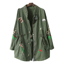 Nice Spring Embroidery Women Windbreaker With Drawstring Army Green Casual Loose Jacket