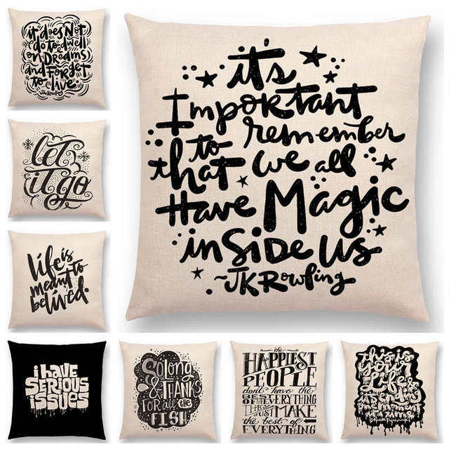 Hot Sale Black White Pattern Decorative Letters Fun Words Meaningful Saying Short Sentences Love Life Cushion