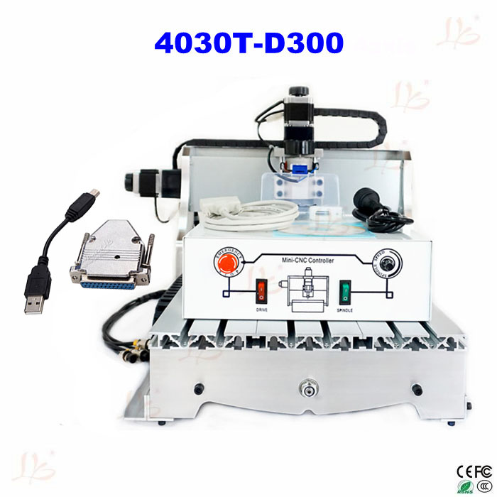 Mini CNC Router 4030T-D300  CNC Engraving Machine For PCB & Wood & Soft Metal Working with USB parallel port adapter acctek hot sale cnc router machine akg6090 6012 for wood stone metal mini cnc router engraving machine for copper