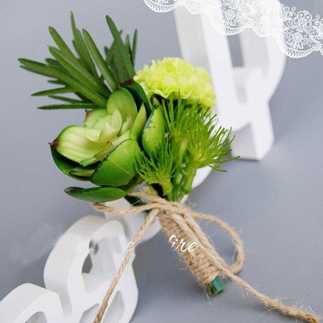 10 Pcs Lot Handmade Customize Succulen Plant Artificial Flower Wedding Guest Brooch Boutonniere Bride Bridegroom