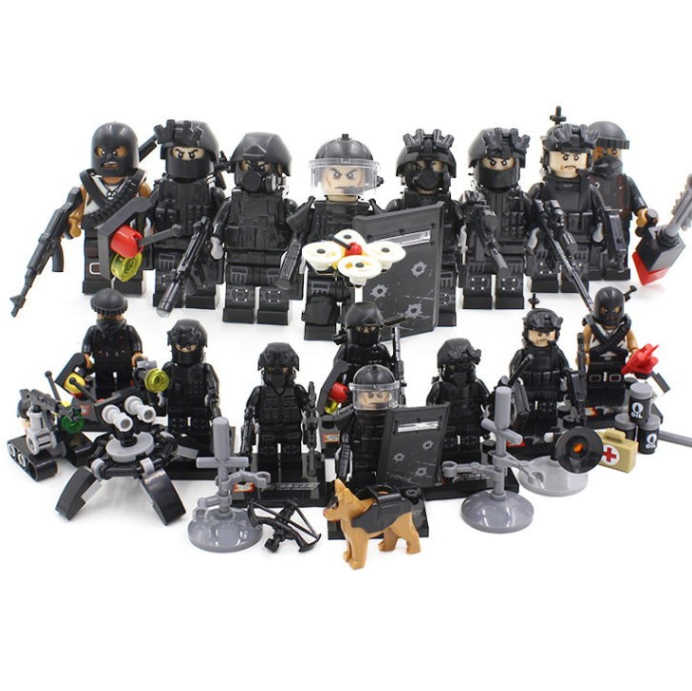 hot batisbricks modern military SWAT city Police figures Building Blocks Swat Squad Commando minifigs Weapon stacking brick toys